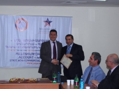 Farm Credit Armenia UCO CC received award certificate from MCA-Armenia